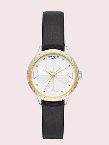 rosebank scallop black leather watch, , rr_productgrid