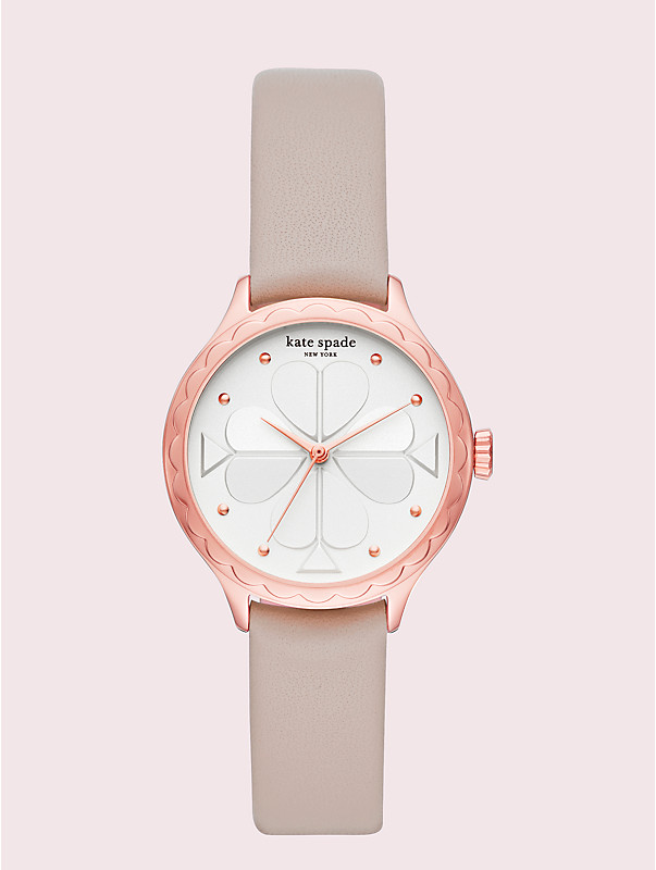 rosebank scallop taupe leather watch, , rr_large