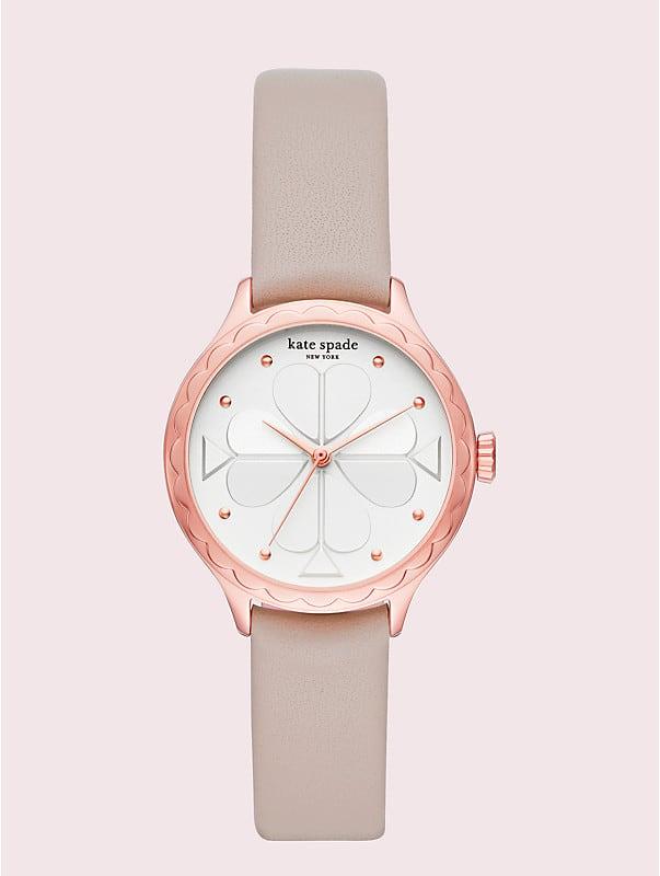 Rosebank Armbanduhr mit taupefarbenem Lederarmband und Wellenrand, , rr_large