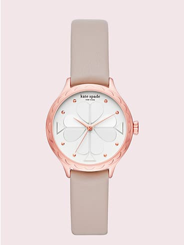 rosebank scallop taupe leather watch, , rr_productgrid