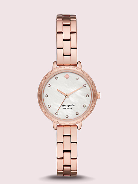 morningside scallop mini rose gold-tone stainless steel watch by kate spade new york