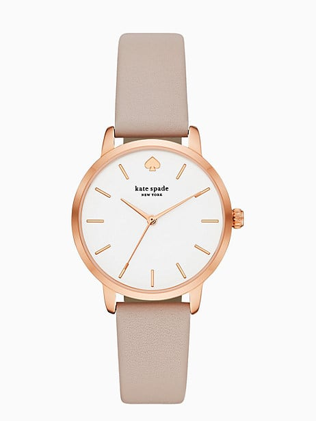 metro watch in rose grey leather  by kate spade new york