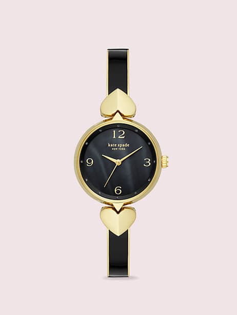 hollis black enamel stainless steel bangle watch by kate spade new york