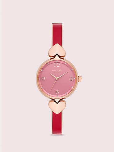 hollis red enamel stainless steel bangle watch, , rr_productgrid