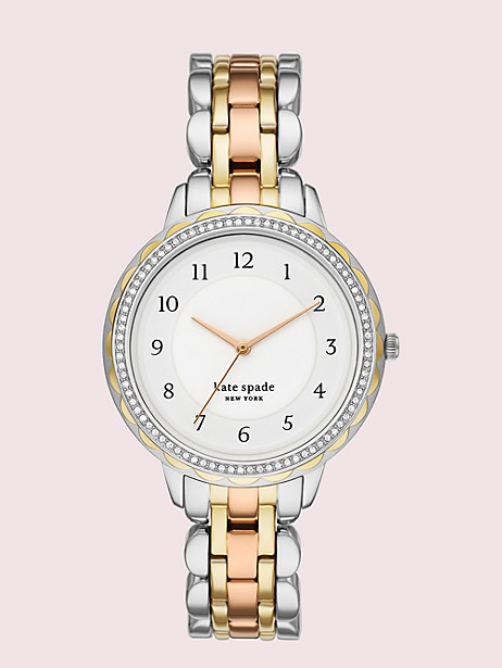 morningside scallop glitz tri-tone stainless steel watch by kate spade new york
