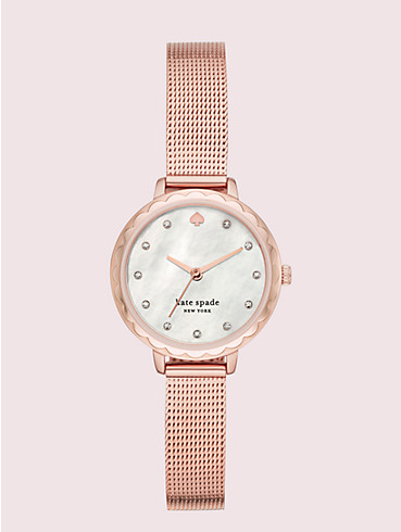 morningside mini rose gold-tone stainless steel mesh watch, , rr_productgrid
