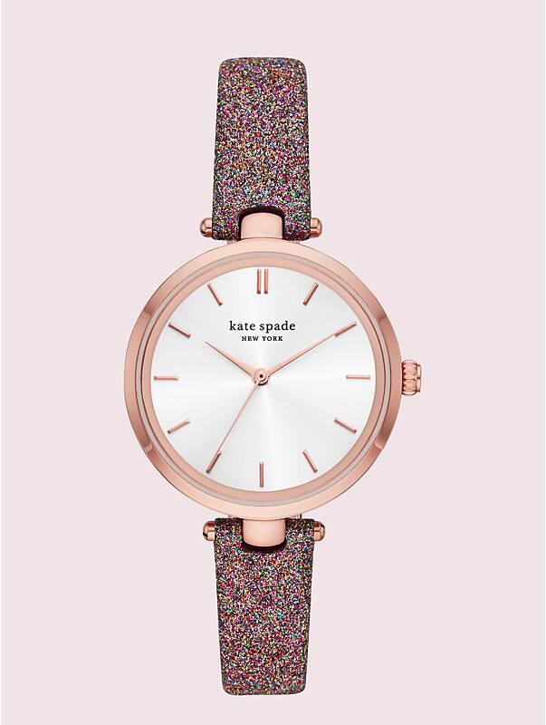 Holland Armbanduhr mit regenbogenfarbenem Glitzerlederarmband, , rr_large