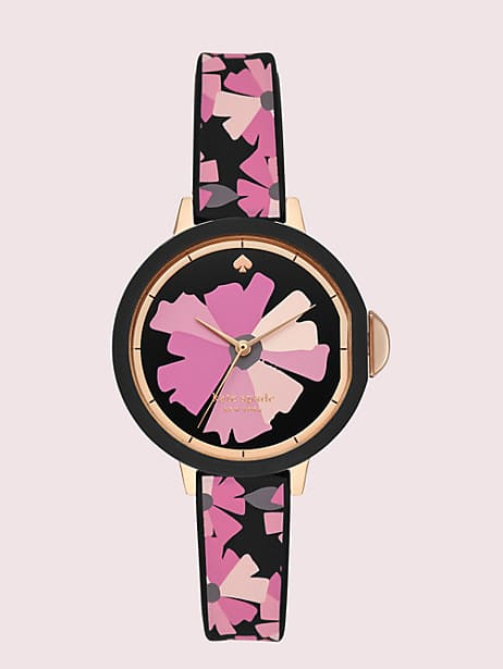 park row flower-print silicone watch by kate spade new york