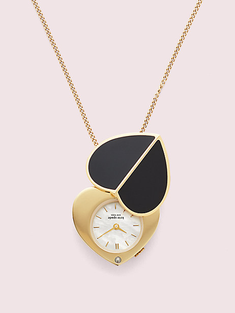 nicola heart twistlock gold-tone stainless steel watch pendant necklace by kate spade new york