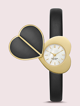 nicola heart twistlock black leather watch by kate spade new york non-hover view