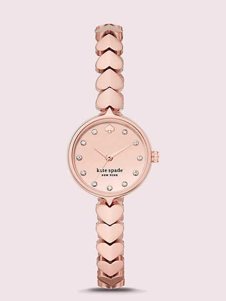 hollis rose gold-tone stainless steel hearts watch by kate spade new york