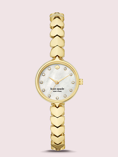 hollis gold-tone stainless steel hearts watch by kate spade new york