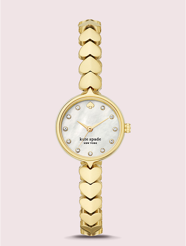 hollis gold-tone stainless steel hearts watch, , rr_large