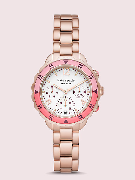 baywater dive-inspired rose gold-tone stainless steel watch by kate spade new york