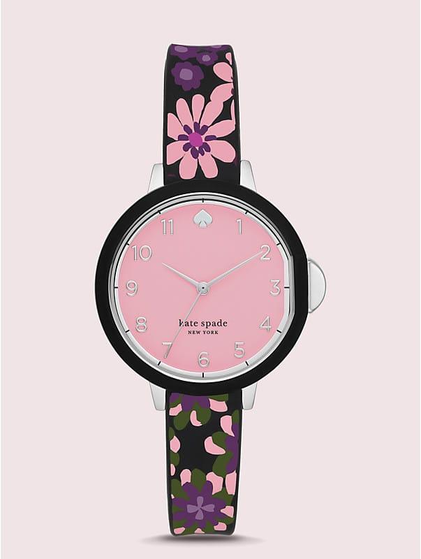 Park Row Uhr mit schwarzem Silikonarmband mit Blumen-Print, , rr_large