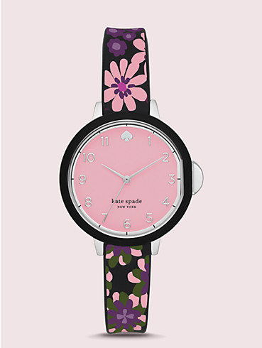 park row black floral-print silicone watch, , rr_productgrid