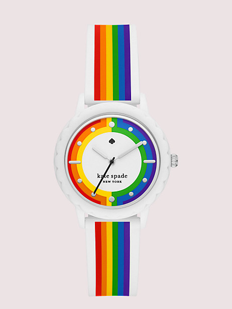 morningside rainbow-striped silicone watch by kate spade new york