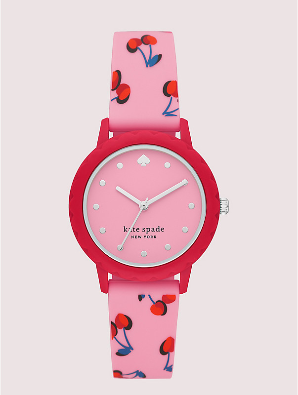 morningside scallop pink cherries silicone watch, , rr_large