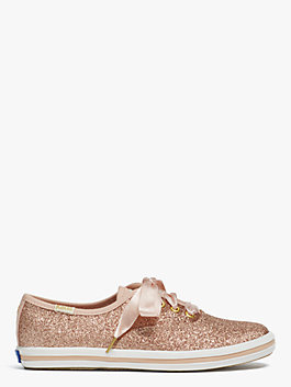 keds kids x kate spade new york champion glitter youth sneakers, rose gold, medium