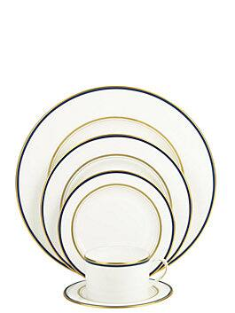 library lane navy five-piece place setting, navy, medium
