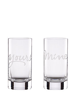 two of a kind yours and mine highball set, clear, medium