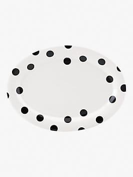 deco dot 14 inch platter, black/white, medium