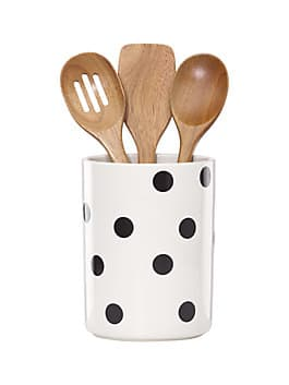 deco dot crock with 3 wooden utensils, black/white, medium