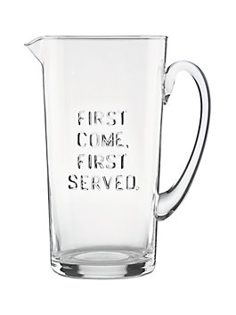 first come first served pitcher, clear, medium