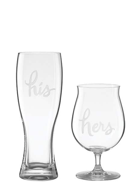 two of a kind his and hers beer glasses by kate spade new york
