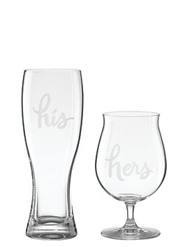 two of a kind his and hers beer glasses, clear, medium