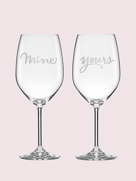 two of a kind mine/yours wine glass pair by kate spade new york