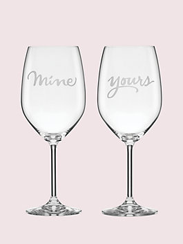 two of a kind mine/yours wine glass pair, clear, medium