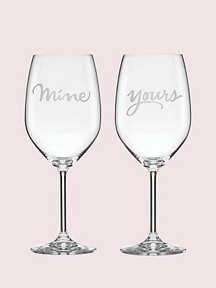two of a kind mine/yours wine glass pair by kate spade new york non-hover view