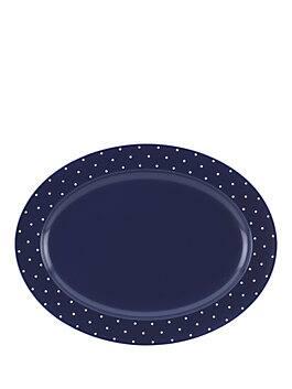 larabee dot serving platter, navy, medium