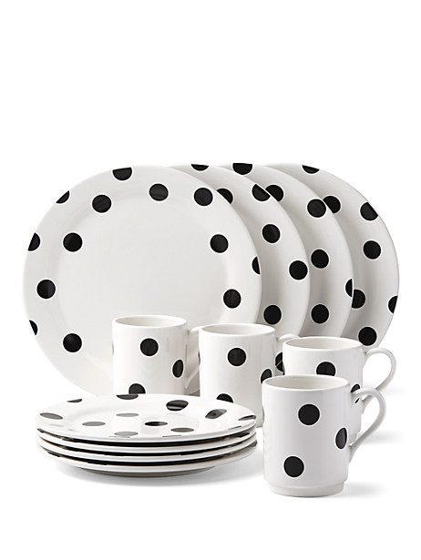 deco dot 12 piece dinnerware set by kate spade new york