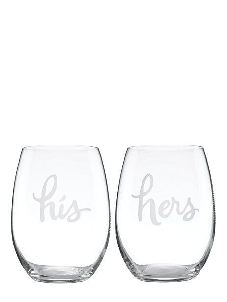 two of a kind stemless his and hers wine glasses by kate spade new york