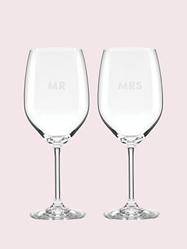 darling point mr. and mrs. wine glass set, clear, medium
