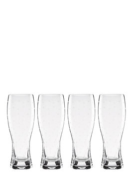 larabee dot set of 4 beer glasses, clear, medium