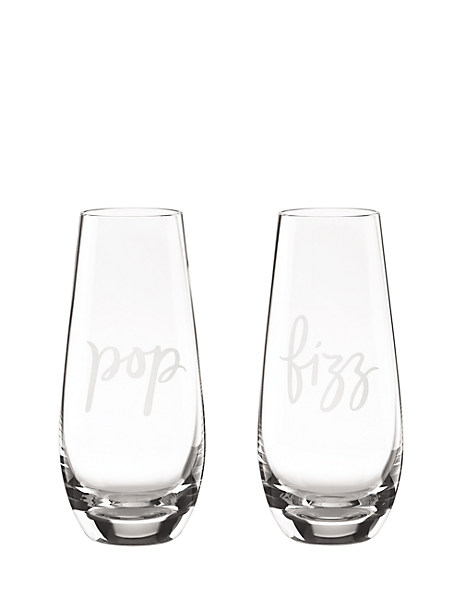 two of a kind pop/fizz stemless champagne glass pair by kate spade new york