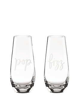 two of a kind pop/fizz stemless champagne glass pair, gold, medium
