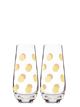 pearl place stemless champagne glass pair, gold, medium
