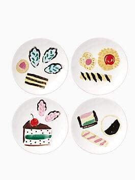 one smart cookie set of 4 tidbits plates, white, medium