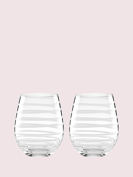 charlotte street stemless wine glass pair  by kate spade new york