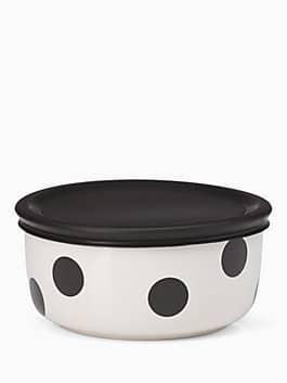 on the go deco dot food storage bowl, black, medium