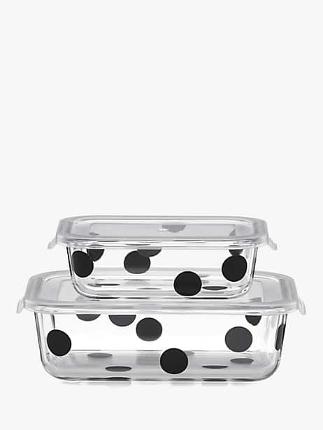 deco dot 2pc rectangular food storage containers by kate spade new york