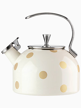gold dot tea kettle, gold, medium