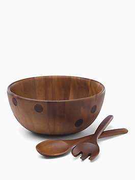 deco dot wood salad bowl and server set, deco dot, medium
