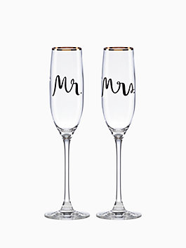 Bridal Party Flute Pair, gold, medium