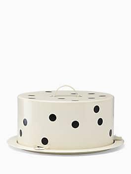 Deco Dot Cake Carrier, white/black, medium