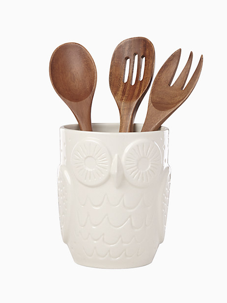 cannon street owl utensil crock with servers by kate spade new york